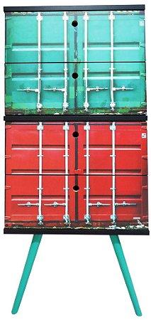 Gaveteiro Vertical com 4 Gavetas Estampa Container (0348-0842)