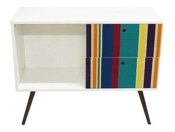 Armário Horizontal com 2 Gavetas  + Nicho Estampa Listras Color  (0311-0760)