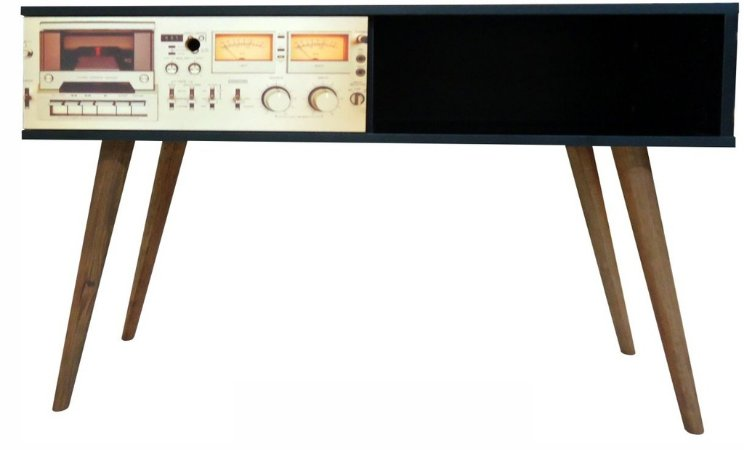 Aparador Horizontal Home com 1 Gaveta Estampa Rádio  (0350-0824)