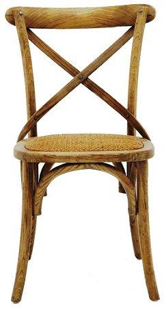 Cadeira Cross Paris Madeira Natural com Assento em Rattan