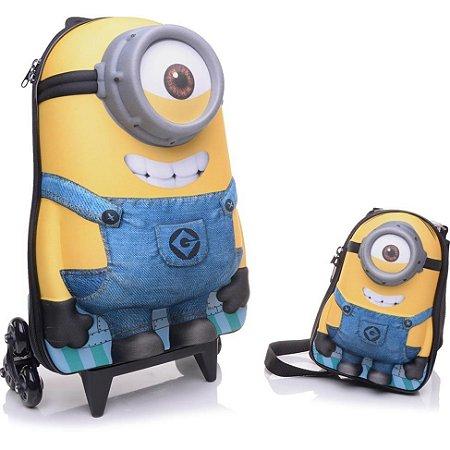 Mochila Escolar de Rodinhas 3D Minions Stuart + Lancheira