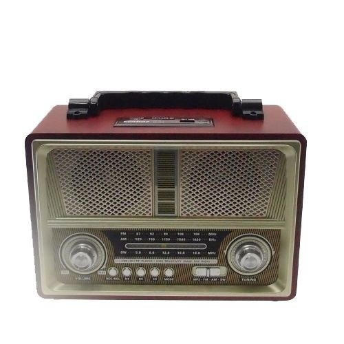 Rádio Vintage Am/Fm Usb Vermelho com Bege (Vin-08)