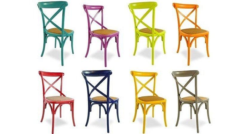 Cadeira Cross Paris Colorida Carvalho Americano E Assento Rattan