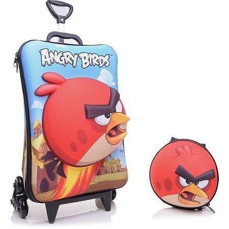 Mochila Escolar de Rodinha Estampa em 3D Angry Birds Red + Lancheira