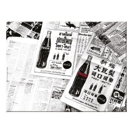 Tábua de Vidro Coca-Cola Newspaper Preto e Branco 30x40cm (26796)