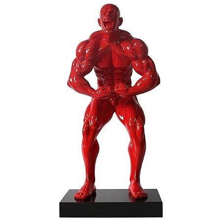 Escultura em Resina Fisioculturista Trapézio Vermelha (26571)