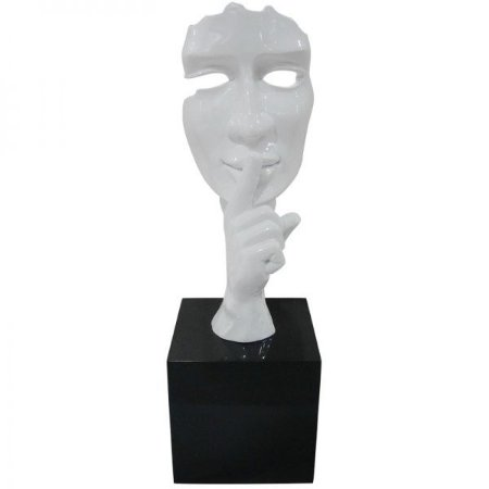 Escultura Decorativa em Resina Arts in The Face Silence Branca (26240)