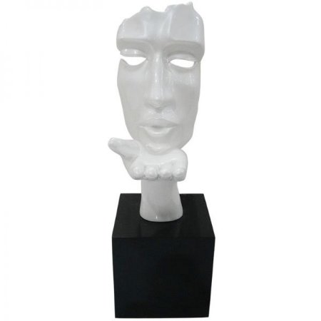 Escultura Decorativa em Resina Arts in The Face Blowing a Kiss Branca (26253)