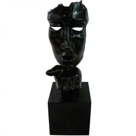 Escultura Decorativa em Resina Arts in The Face Blowing a Kiss Preto (26254)