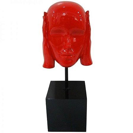 Escultura Decorativa em Resina Arts in The Face Deaf Vermelho (26258)