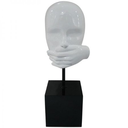 Escultura Decorativa em Resina Arts in The Face Mute Branco (26265)
