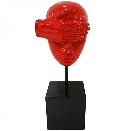 Escultura Decorativa em Resina Arts in The Face Blind Vermelho (26261)