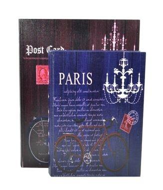 Jogo Caixa Livro Decorativa 2 Peças Estampa Paris Post Card