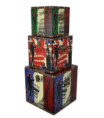 Jogo Baú Decorativo 3 Peças Estampa Cidades (Roma, Londres e Paris)