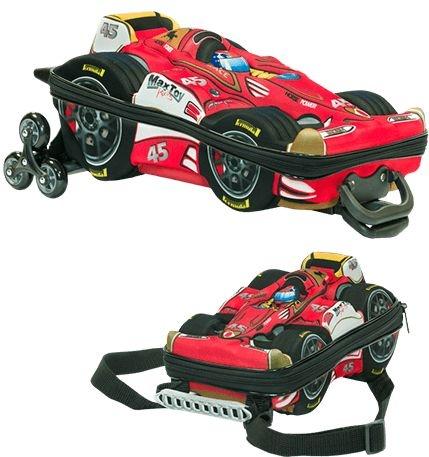 Mochila de Rodinha Mochilete 3D Escolar + Lancheira MaxToy Carro Formula 1
