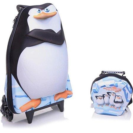 Mochila de Rodinha Mochilete 3D Escolar + Lancheira Dreamworks Os Pinguins de Madagascar