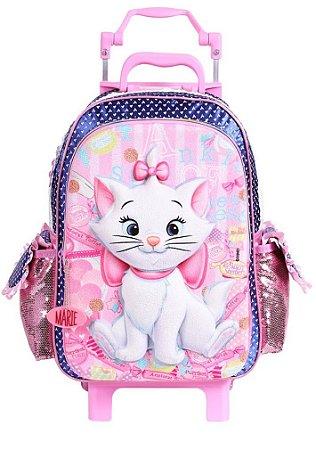 Mochila de Rodinhas Mochilete Escolar Grande Disney Gatinha Marie (60265)