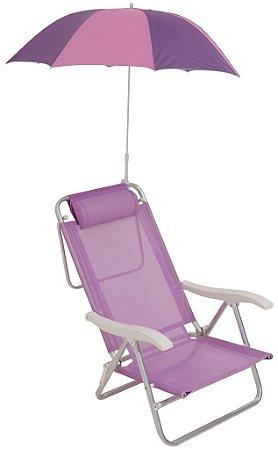Cadeira Sol de Verão Plus Reclinável Lilás com Guarda-Sol