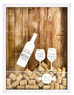 Quadro Porta Rolha em Madeira Vinho Collection