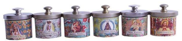 Conjunto 6 Velas Potes Decorativas com Estampas Religiosas