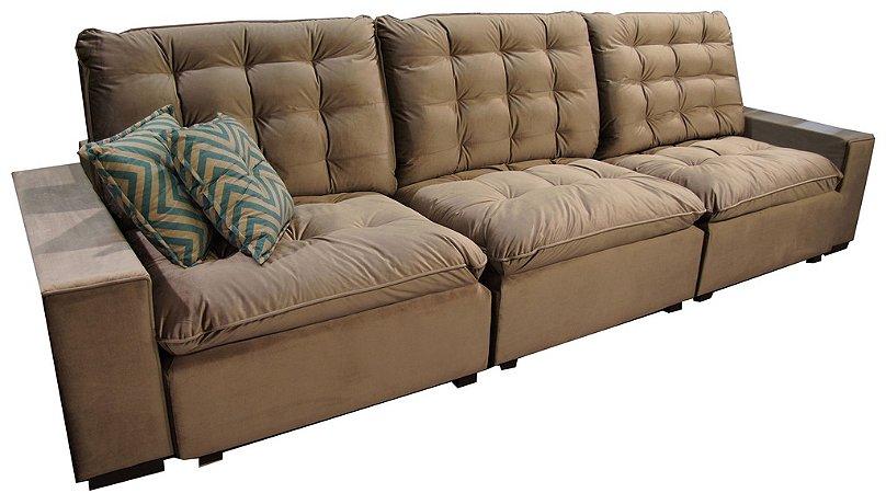Sofá Retrátil e Reclinável Com 3 Lugares Bege Enele Parker 3,2M