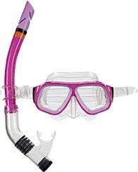 Máscara de Mergulho e Snorkel Juvenil Rosa