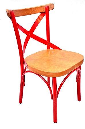 Cadeira Uruguai Ferro Vermelha Encosto Mel