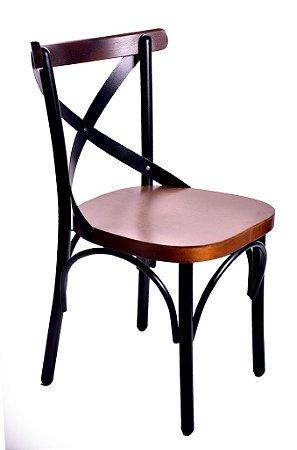 Cadeira Uruguai Ferro Preto Encosto Castanho