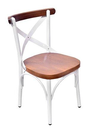 Cadeira Uruguai Aluminio Branco Encosto Castanho