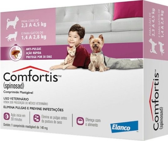 Comfortis Antipulgas Elanco - Cães 2,3kg a 4,5g Gatos 1,4kg a 2,8kg