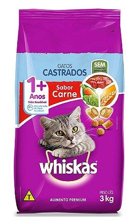 WHISKAS GATO CASTRADO CARNE - 3KG