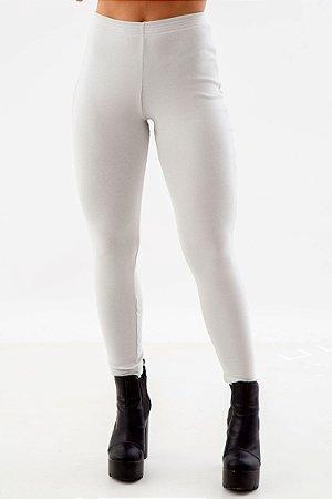 Calça Legging Ribana Fio Algodão Orgânico com Elastano Gelo