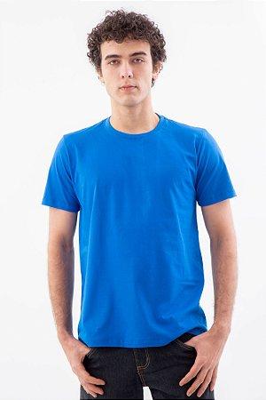 Camiseta Básica Masculina Gola Olímpica Malha Fio Algodão Orgânico Royal