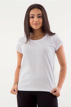 Camiseta Feminina Básica Gola O Malha Fio Algodão Orgânico Branco