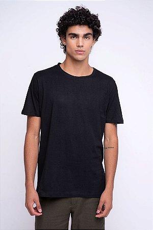 Camiseta Básica Masculina Gola Olímpica Malha Fio Algodão Orgânico Preto