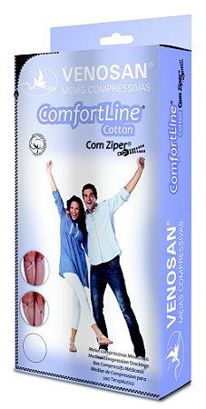 Meias Venosan Comfortline Cotton com Ziper Panturrilha 20-30mmHg Longa Bege