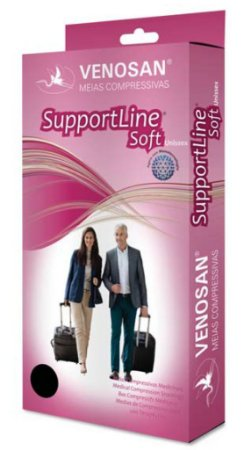 Meias Venosan Supportline Soft Panturrilha 18-22mmHg Preto