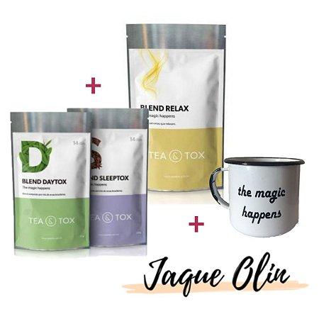 Programa Chá Detox  14 Dias + Chá Relax + Caneca Grátis | Combo Jaque Olin