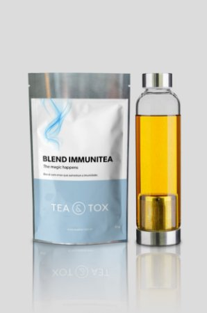 Chá ImmuniTea + Garrafa com infusor de chá