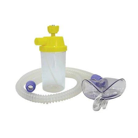 Conjunto Macronebulizador 500 ml Ar Comprimido C/Traq. Adulto (Silicone e Mascara) - Unidade