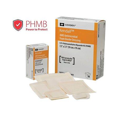 Curativo em Espuma, Antimicrobiano com PHMB 0,2%, Kendall, com borda - Unidade