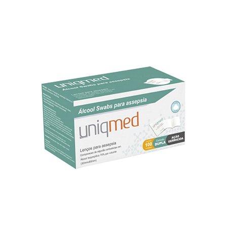 Lenços de Algodão com Álcool 70%, tipo SWAB da Uniqmed - Caixa 100 Unidades