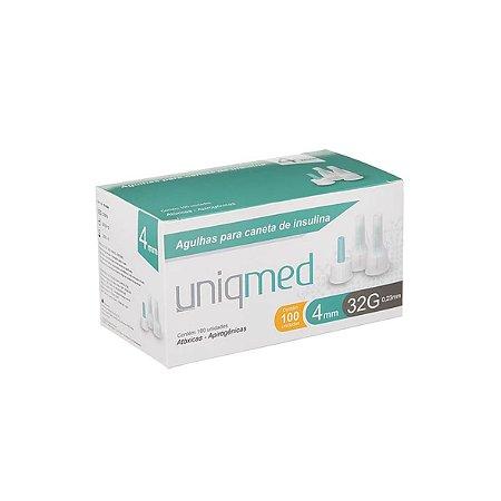 Agulhas para Caneta de Insulina  4mm 32G da Uniqmed - Caixa com 100 Unidades