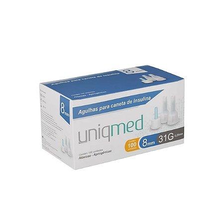 Agulhas para Caneta de Insulina 8mm 31G da Uniqmed - Caixa 100 Unidades