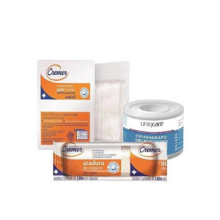 Kit curativo - Atadura Crepom + Compressa de Gaze + Esparadrapo Microporoso