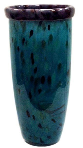 Vaso em vidro azul e roxo