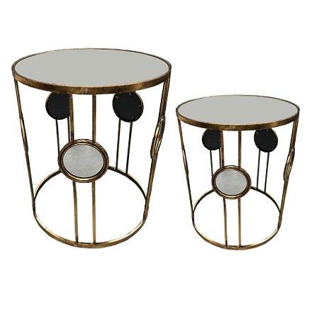 Conjunto mesa redonda com espelho