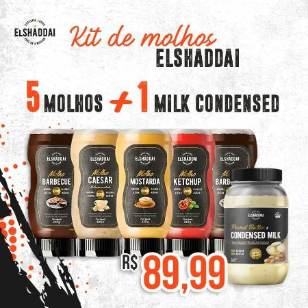Combo 5 MOLHOS (2 barbecue + 1 Mostarda + 1 Ketchup + 1 Caesar) +1 Creme de amendoim MILK CONDENSED ( leite condensado)   -  FRETE GRÁTIS
