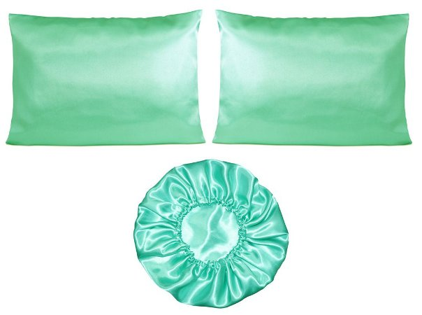 Kit 2 fronhas + touca Duplo Cetim - Verde Tiffany