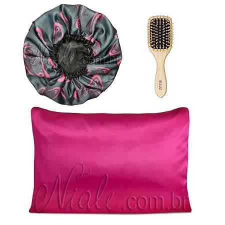 Kit Touca Duplo Cetim Estamp+ Fronha Pink + Escova Madeira media
